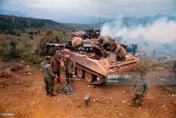 Vietnamese soldiers travel in personnel carriers, part of ...