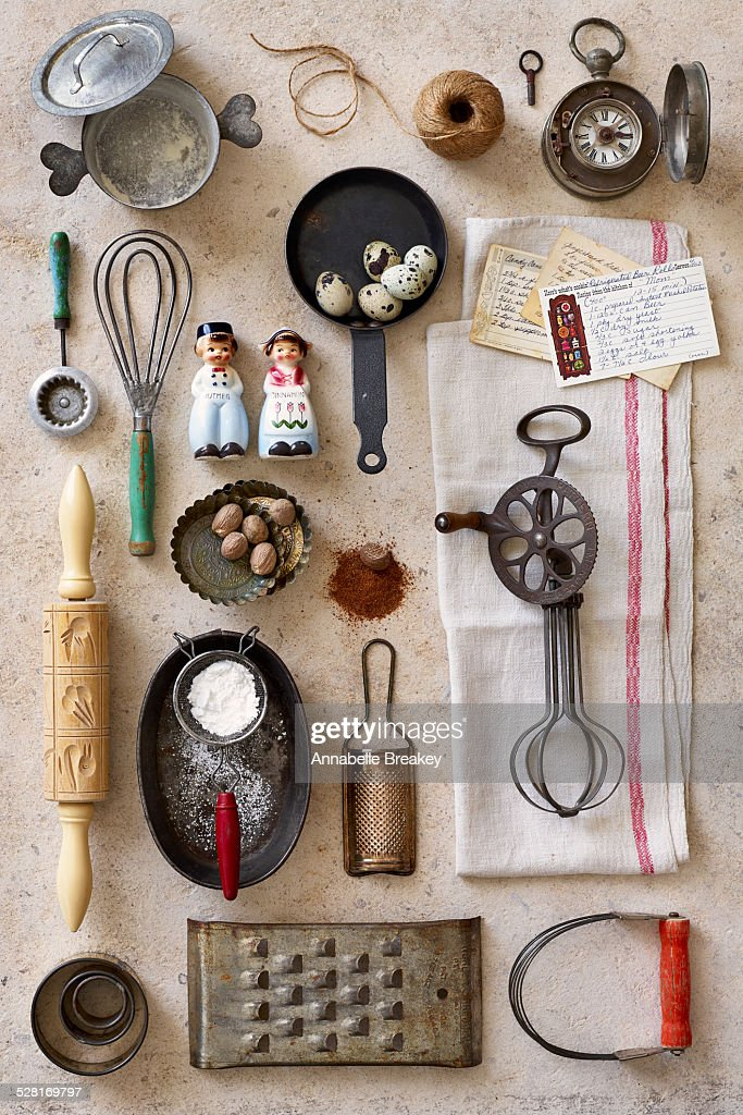 Vintage Kitchen Baking Tools Stock Photo Getty Images