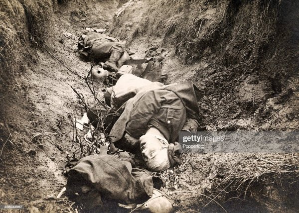 War dead in a trench during World War One, circa 1915 ...