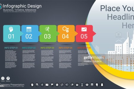 Business Infographics Template Milestone Timeline Or Road Map With         template  Milestone timeline or Road map with Process flowchart 5  options  Strategic plan to define company values  Scheduling in project  management to