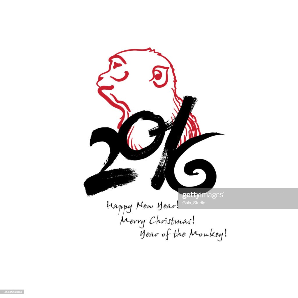 Calligraphy 2016 Happy New Year Sign Card With Monkey Isolated     Calligraphy 2016 Happy New Year sign card with Monkey isolated   Vector Art