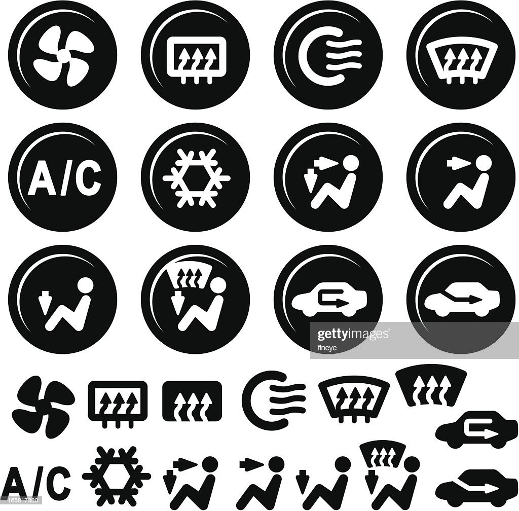 Car dashboard icons air conditioning and vent vector art getty car image sign of dashboard