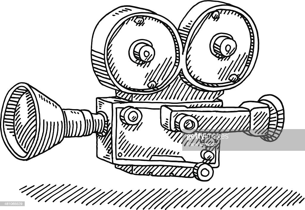 Classic Movie Camera Drawing Vector Art | Getty Images