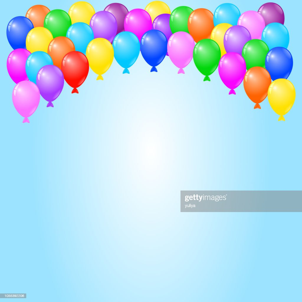 colorful balloons on blue background birthday card party invitation card high res vector graphic getty images