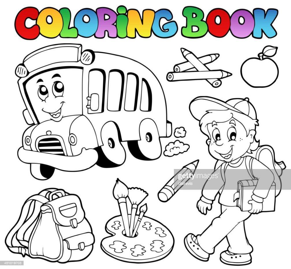 Malbuch School Cartoons 2 Vektorgrafik Thinkstock