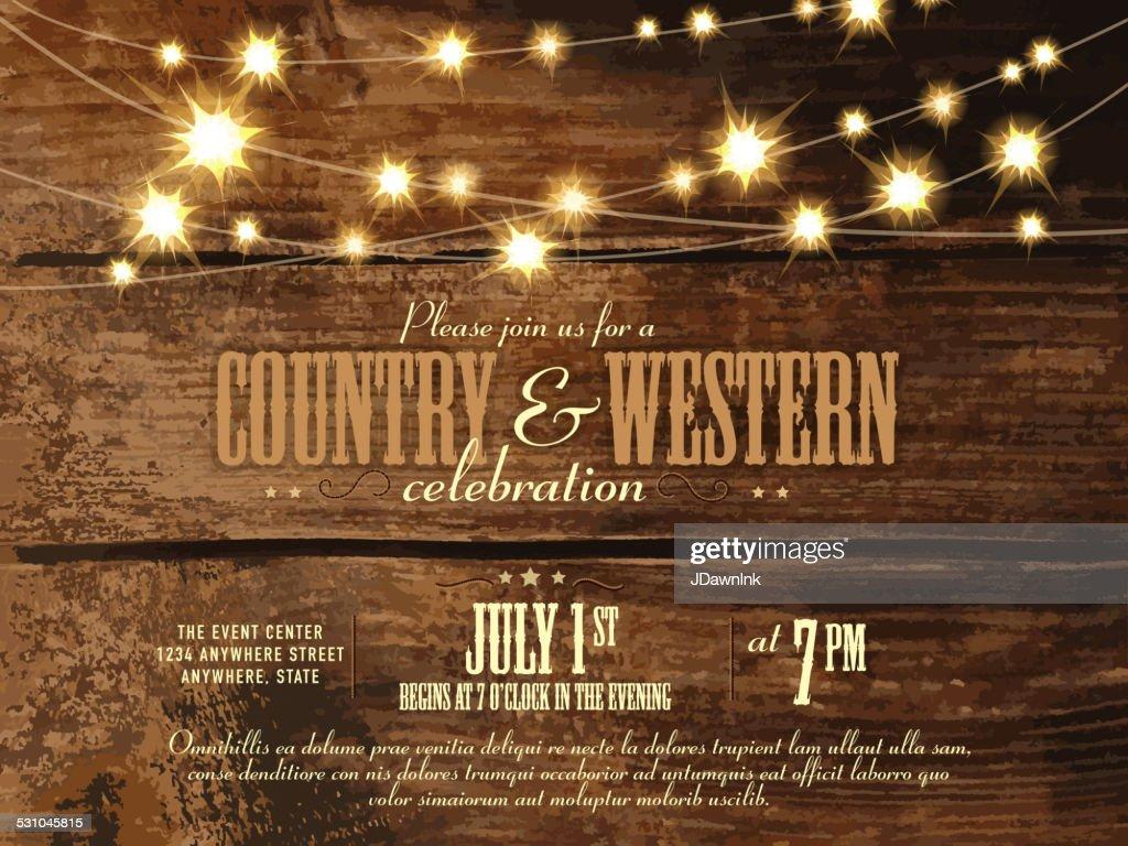 Country And Western Invitation Design Template With String