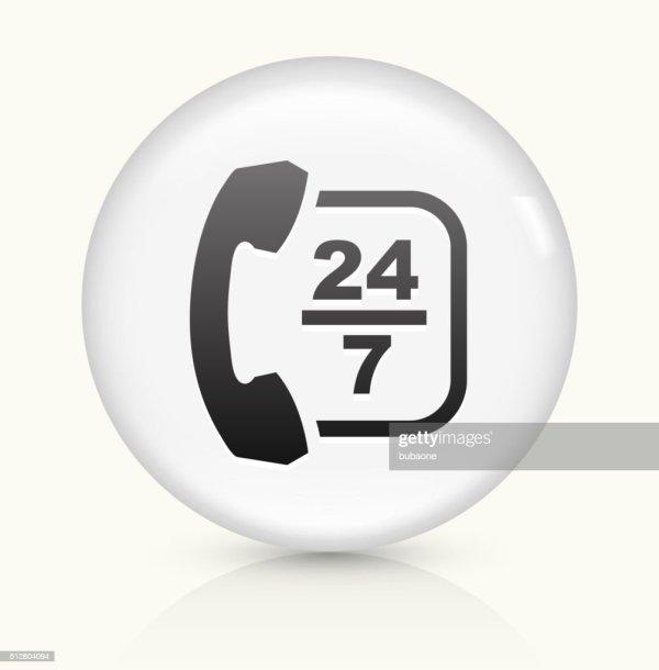 247 Customer Service Icon On White Round Vector Button ...