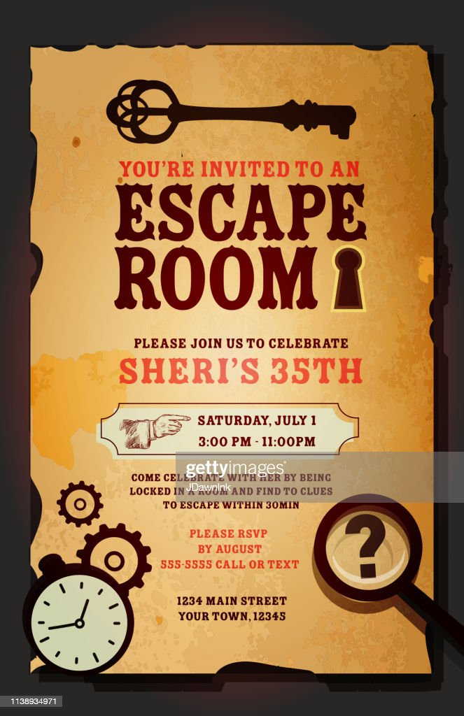escape room birthday party celebration invitation design template high res vector graphic getty images
