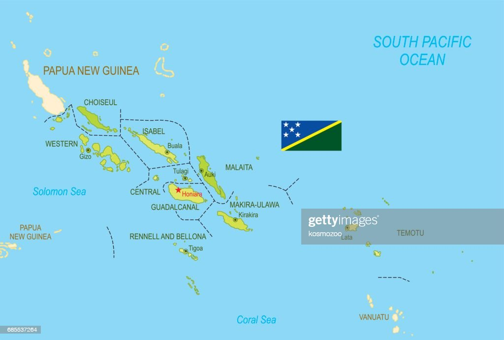 Flat Map Of Solomon Islands With Flag Vector Art   Getty Images Flat map of Solomon Islands with flag   Vector Art
