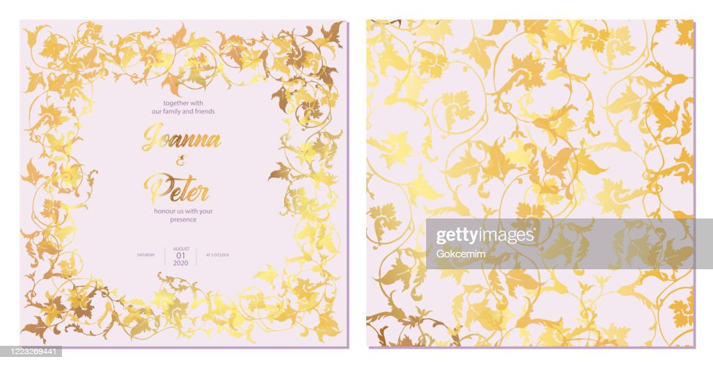 gold colored ivy leaves floral background wedding invitation card template set high res vector graphic getty images