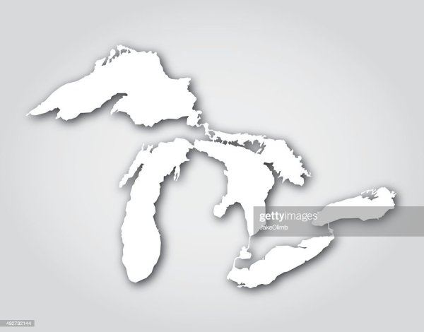 vector illustration great lakes silhouettes stock clip - HD 1024×803