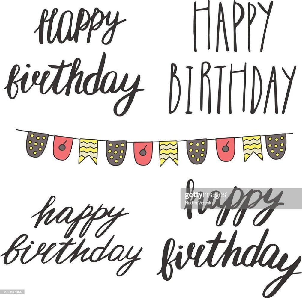 Hand Drawn Doodle Happy Birthday Qoutes Vector Art