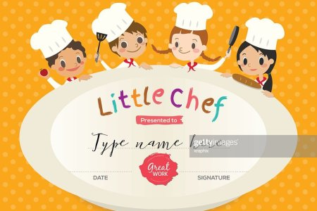 Kids Cooking Class Certificate Design Template Vector Art   Thinkstock Kids Cooking class certificate design template   Vector Art