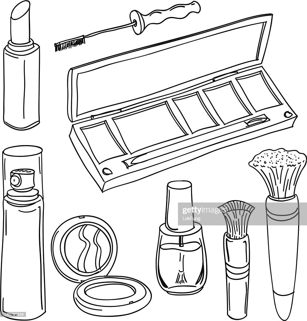 Make Up Tools In Black And White Vector Art Getty Images