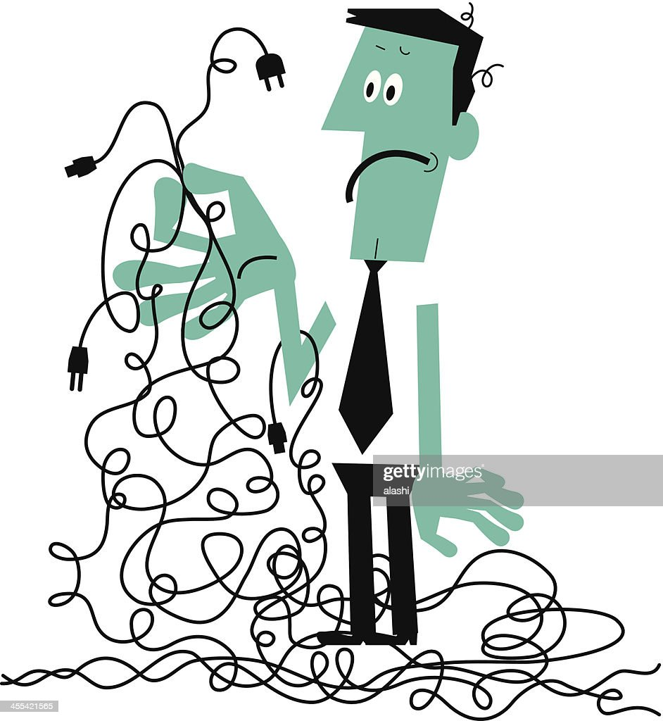 Man with a tangled mess of wires vector art getty images