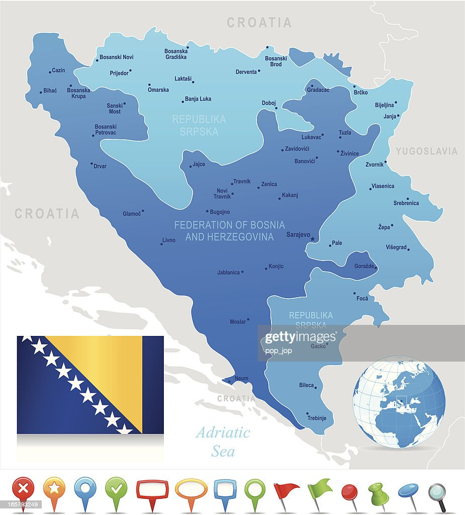 Map Of Bosnia And Herzegovina States Cities Flag Icons High Res Vector Graphic Getty Images