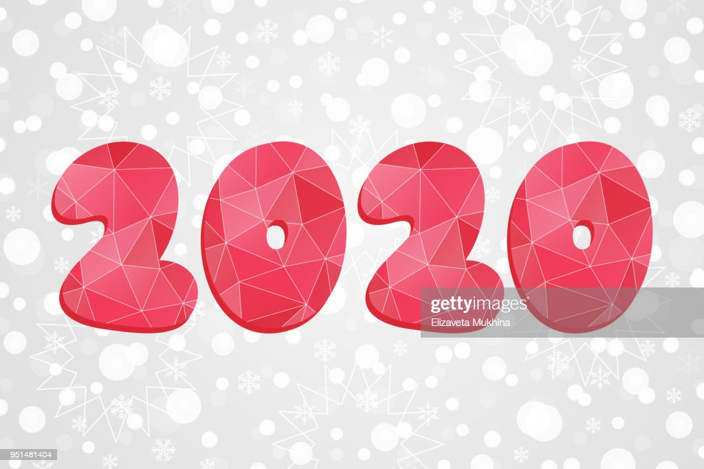 2020 Polygonal Symbol Happy New Year Abstract Triangle Illustration     2020 polygonal symbol  Happy New Year abstract triangle illustration   Decorative red geometric icon on
