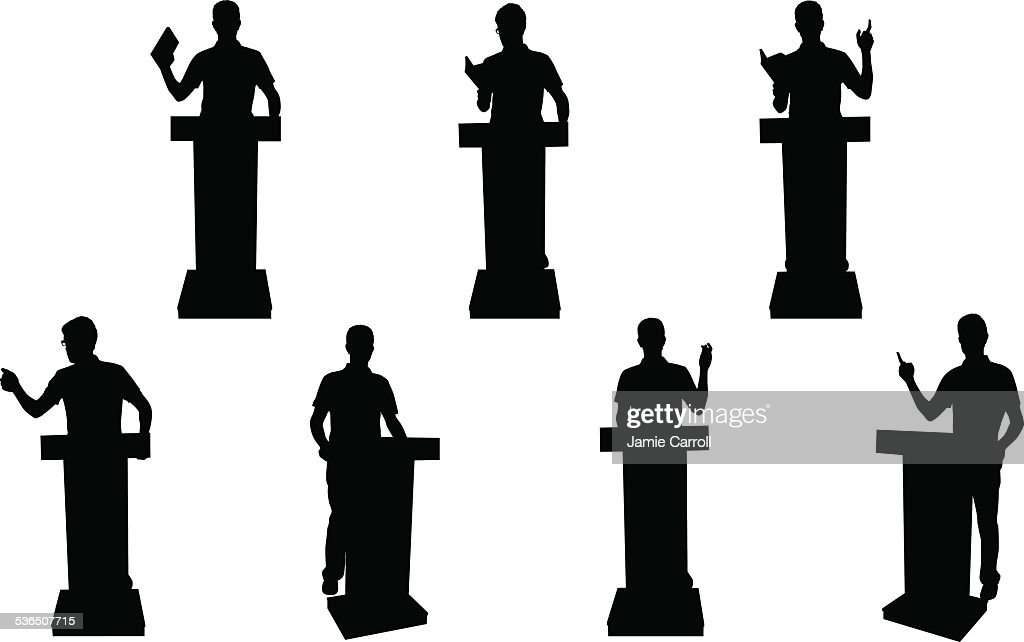 Silhouettes Speaking Behind Podium