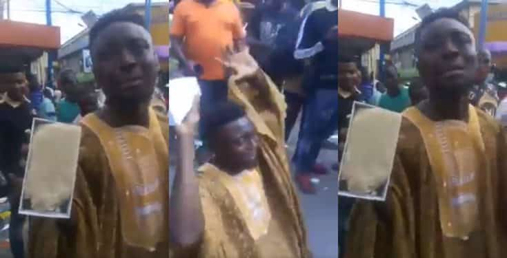 A Young Man Cries Out Seriously Uncontrollably After He Noticed Out That The iPhone 7 He Bought Was Filled With Garri! (VIDEO) 1