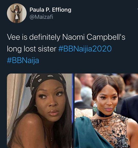 BBNaija: Is Vee Related To Naomi Campbell? 11