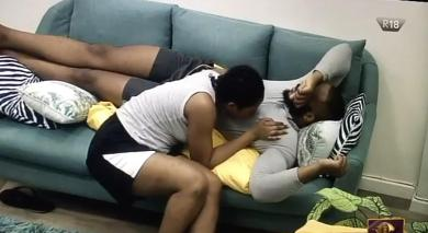 BBNaija 2020: Watch moment Erica rubs her lips on Kiddwaya's nipples