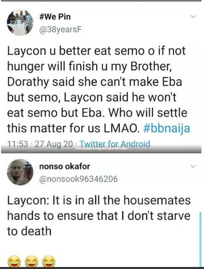 BBNaija 2020: 'It's Everyone's Duty To Ensure That I Don't Starve To Death In The House' – Laycon Tells Dorathy, BBNaija 2020: 'It's Everyone's Duty To Ensure That I Don't Starve To Death In The House' – Laycon Tells Dorathy, Latest Nigeria News, Daily Devotionals & Celebrity Gossips - Chidispalace