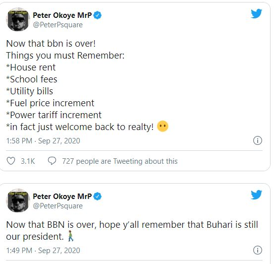 """Now That BBNaija Is Over Hope You All Remember That Buhari Is Still Our President"" – Peter Okoye Shades, ""Now That BBNaija Is Over, Hope You All Remember That Buhari Is Still Our President"" – Peter Okoye Shades, Premium News24"