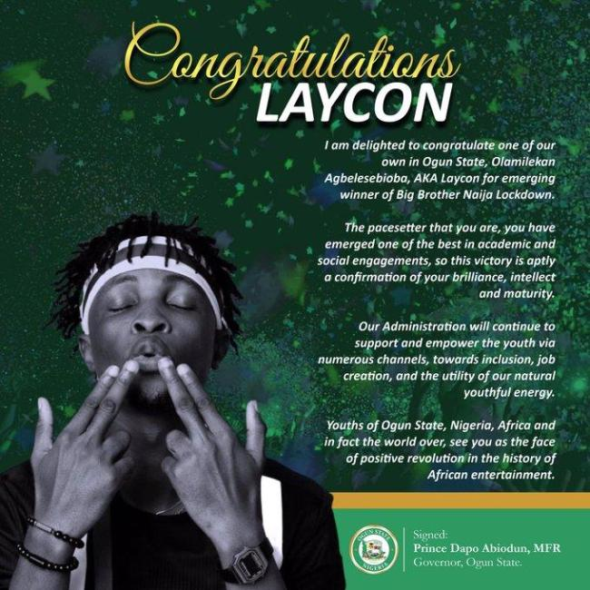 READ Ogun State Governor's Congratulatory Message To Laycon After Winning Big Brother Naija 2020