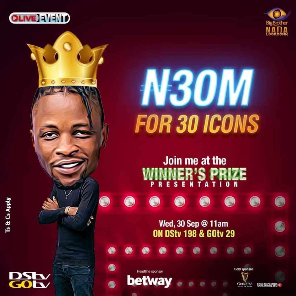 BBNaija 2020: Laycon sets to bless 30 persons with 1million each tomorrow (Full Details)