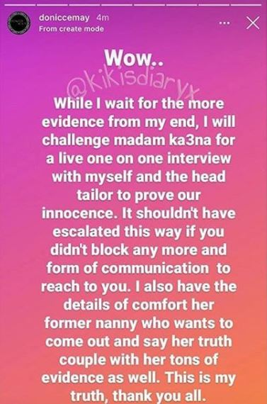 Ka3na's Stylist Challenges Her To A Live IG Interview And Threatens To Reveal More Secrets Between Her And The Daughter's Nanny