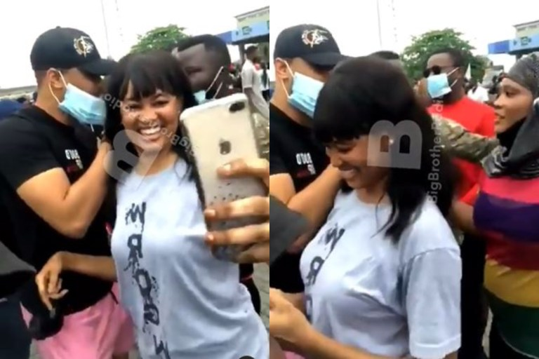 Watch female Protesters drool over Ozo at #EndSARS protest in Abuja