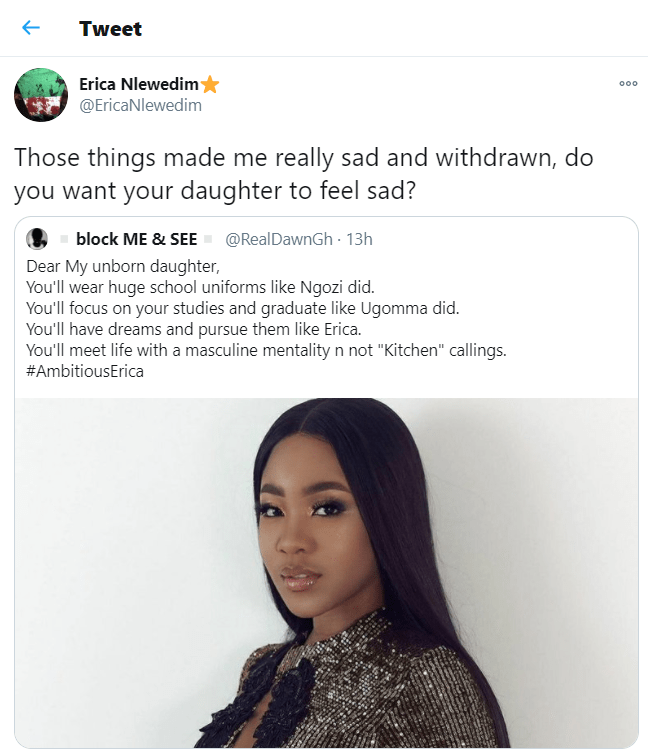 What Erica told woman who wants her unborn daughter to be like her, What Erica told woman who wants her unborn daughter to be like her, Latest Nigeria News, Daily Devotionals & Celebrity Gossips - Chidispalace