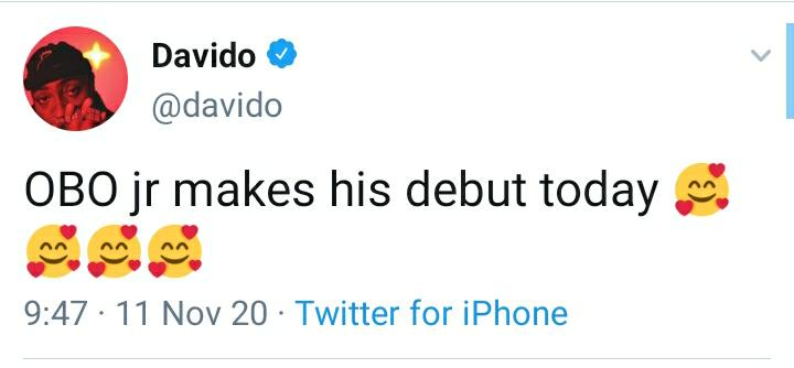 Davido Puts Fans In Dilemma As He Discloses That OBO Jnr. Makes His Debut Today