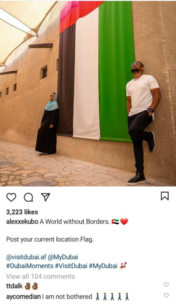 AY Comedian Reacts To Photos Of Alex Ekubo And His Supposed Girlfriend In Dubai
