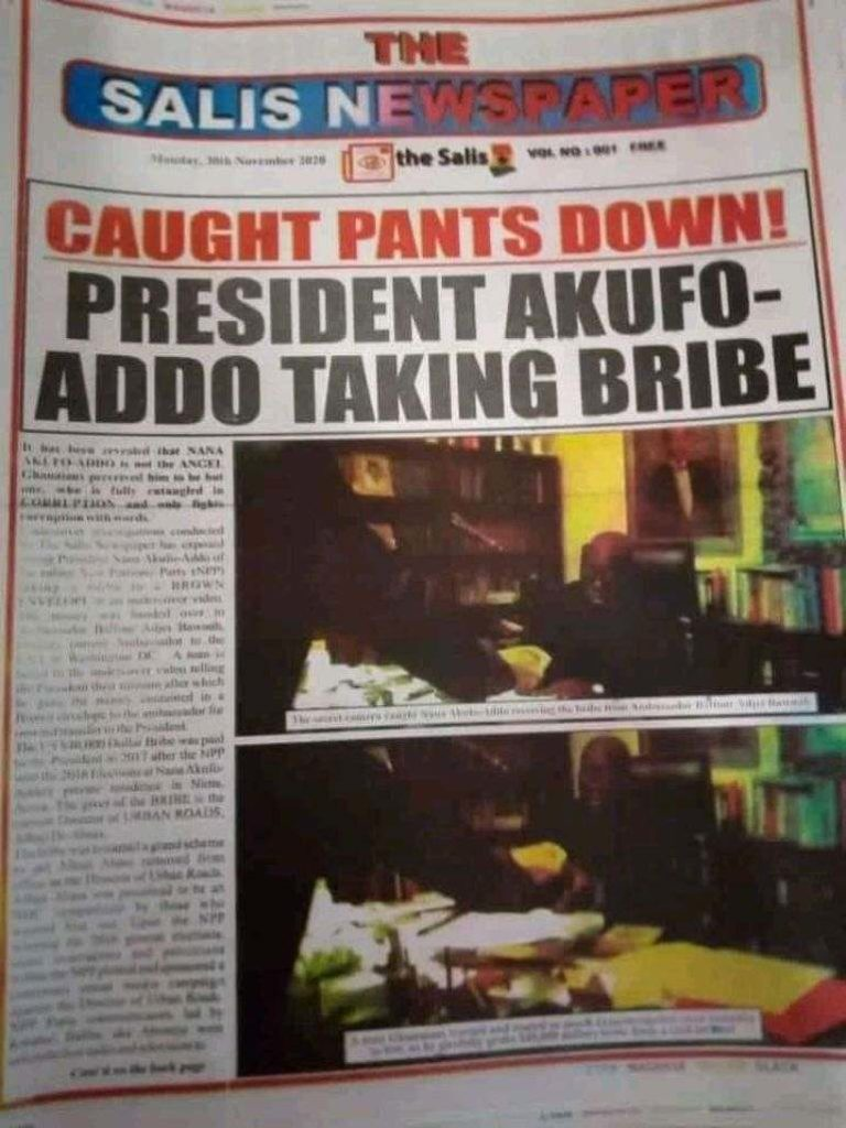 Nana Addo taking bribe