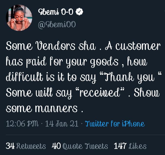 """Show Some Manners!"" – OAP Gbemi Slams Vendor"