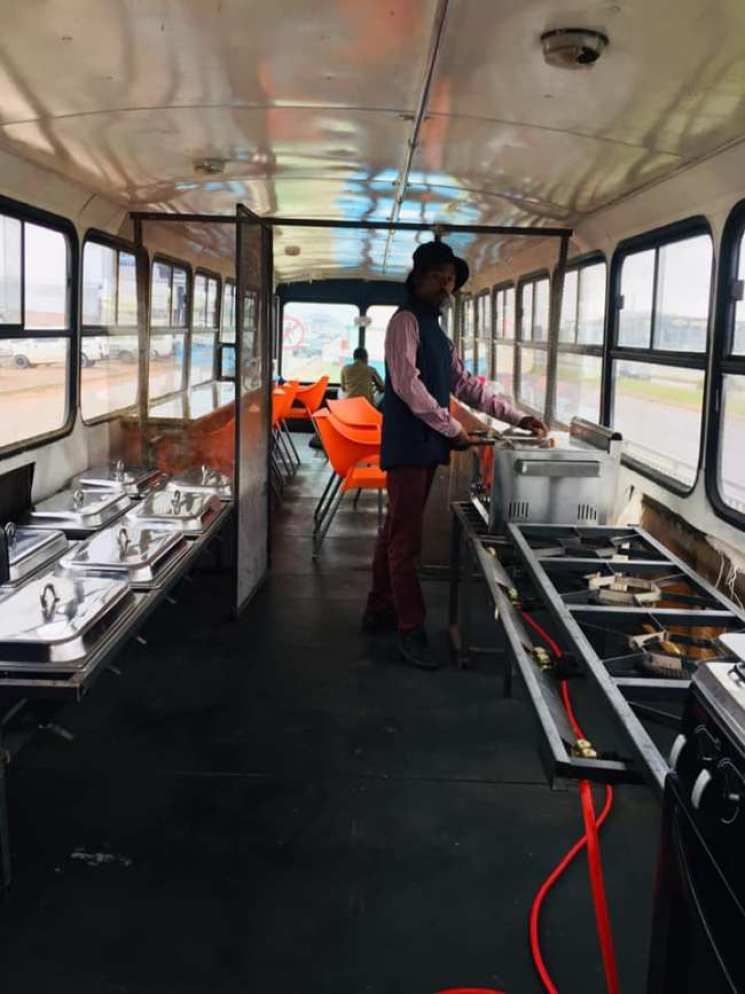 man bus restaurant