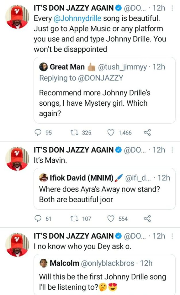Don Jazzy Replies Those Wondering Where Ayra's Away Will Stand Now That Johnny Drille Has Released A Hit