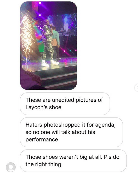 """""""Haters Photoshopped It For An Agenda"""" – Fan Defends Laycon On Oversized Shoes"""