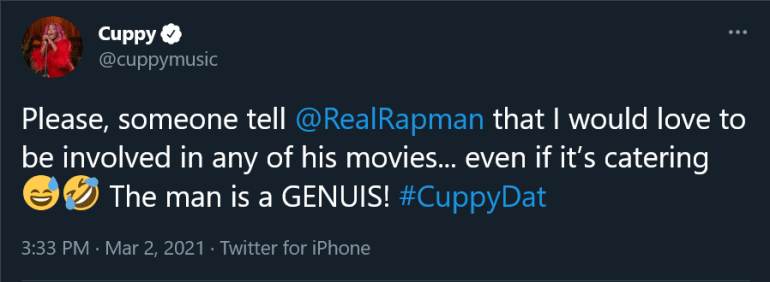 """""""I Would Love To Be Involved In Any Of His Movies, Even If It's Catering""""- DJ Cuppy Begs For A Movie Role From 'Blue Story' Film-maker Rapman"""