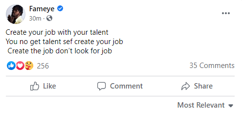 """'Create a job with your talent""""- Fameye advises fans. 4"""