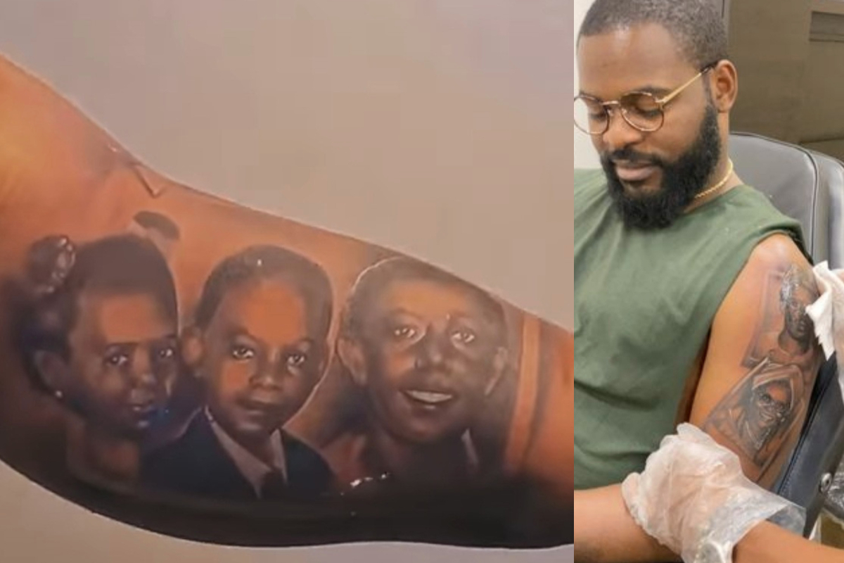 Falz Gets Tattoos Of His Family On His Arm (videos)