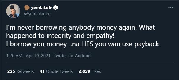 Yemi Alade Controversial tweet