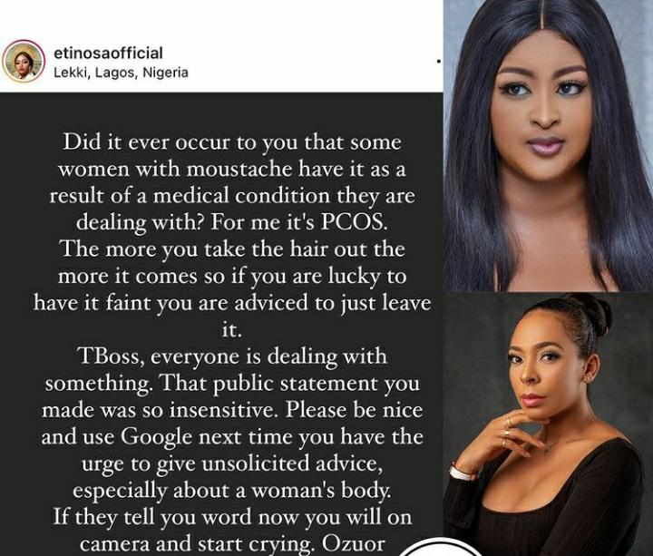 Etinosa Idemudia Slams TBoss Over Her Insensitive Post About Women With Mustache