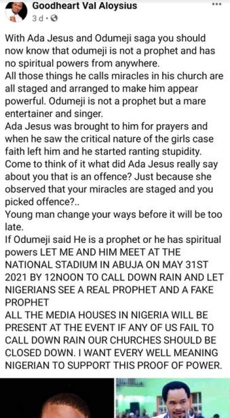 'Let Nigerians See Real Prophet And Fake Prophet'