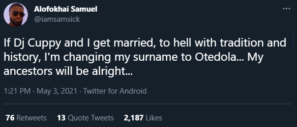 """""""If Cuppy And I Get Married, I'm Changing My Surname To Otedola"""" – Man Says"""