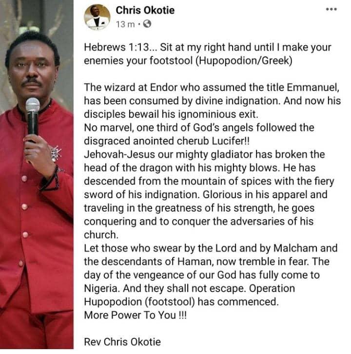 Rev. Chris Okotie Jubilates Over The Death Of TB Joshua