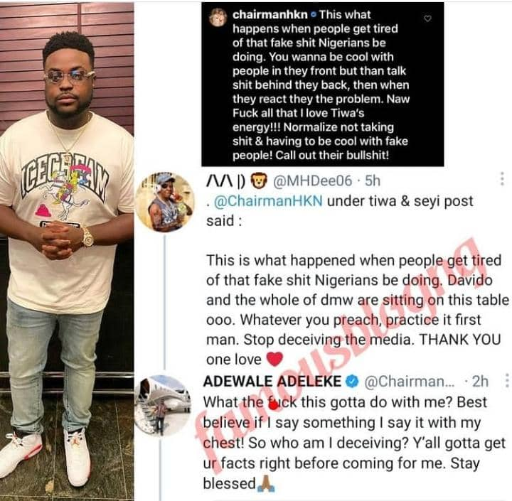 Davido's Brother Adewale Reacts After Being Dragged Over His Comment On Tiwa Savage And Seyi Shay's Brouhaha