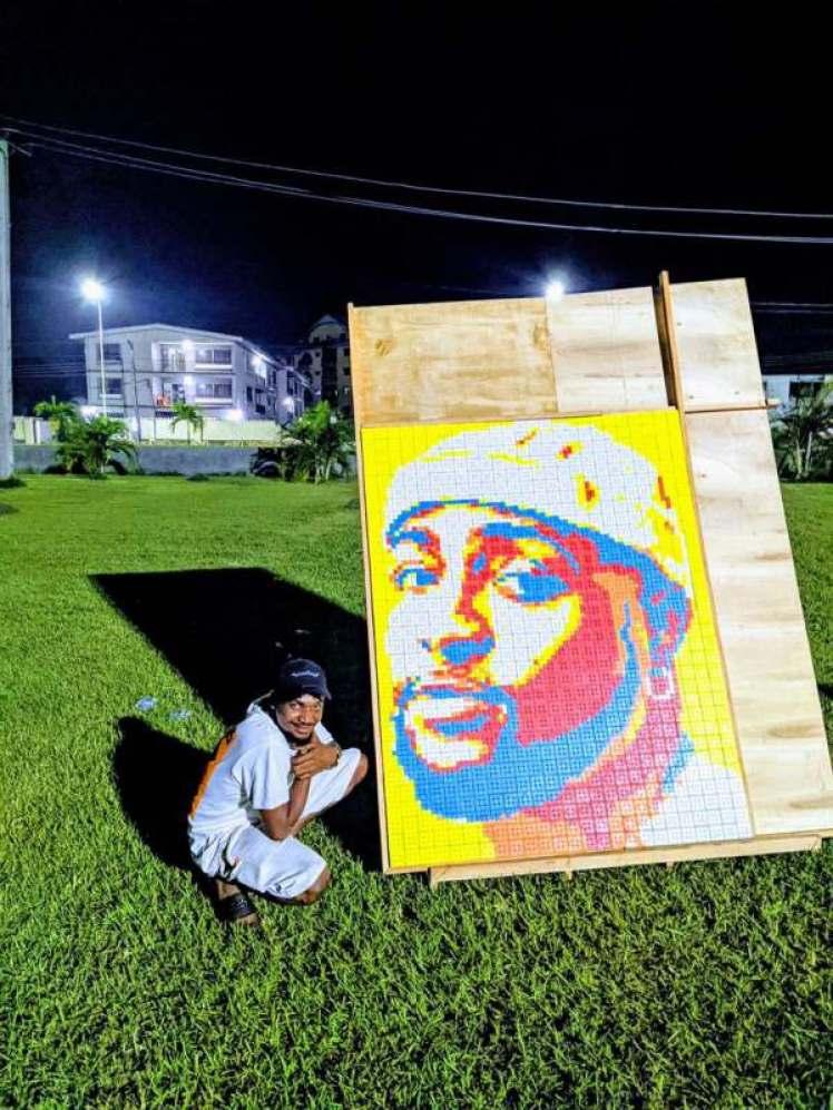 Nigerian Artist Creates Portrait of Davido Using 800 Rubik's Cubes (Photos)
