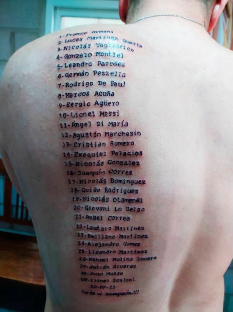Argentina Fan Tattoos All The Names Of The Players Who Won The Copa America On His Back